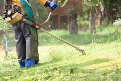 lawn mower worker cutting grass in green field